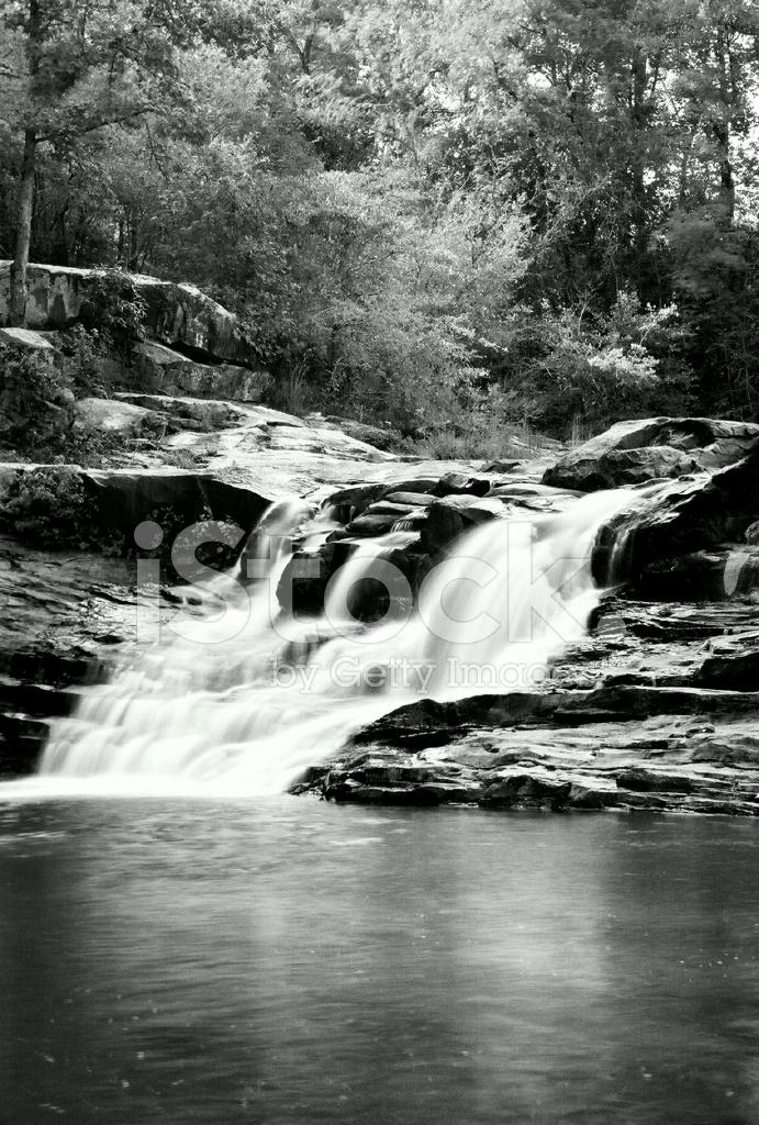Premium stock photo of waterfall black n white
