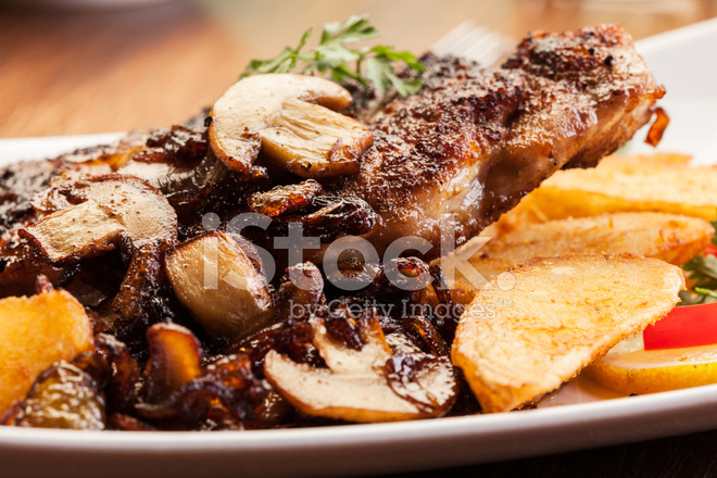 fried pork chop with mushrooms stock photos  freeimages