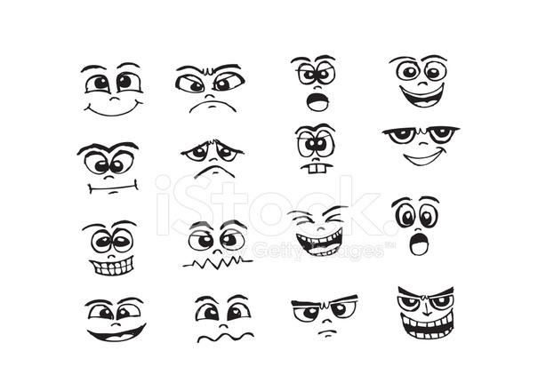Tecknade Ansikten Set Hand Rita Illustration Stockfoton