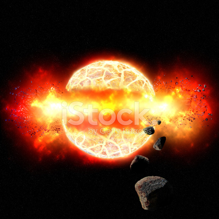 Fiery Explosion Of Planet In Outer Space Stock Photos