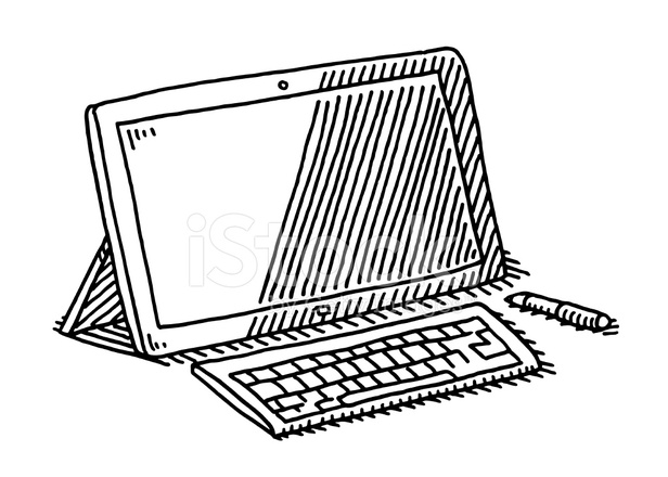 Drawing Lines With Tablet : Tablet computer keyboard pen drawing stock vector