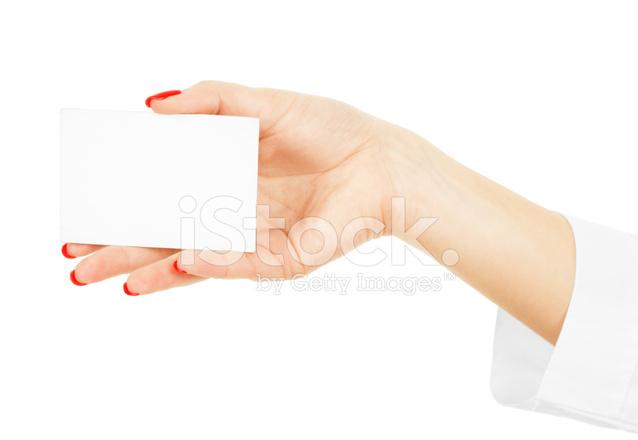 Female hand holding a blank business card stock photos freeimages female hand holding a blank business card colourmoves