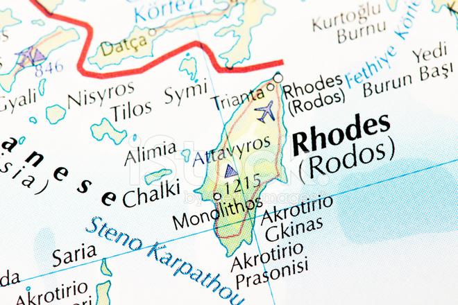Isla De Rodas Mapa.Mapa De La Isla De Rodas Fotografias De Stock Freeimages Com