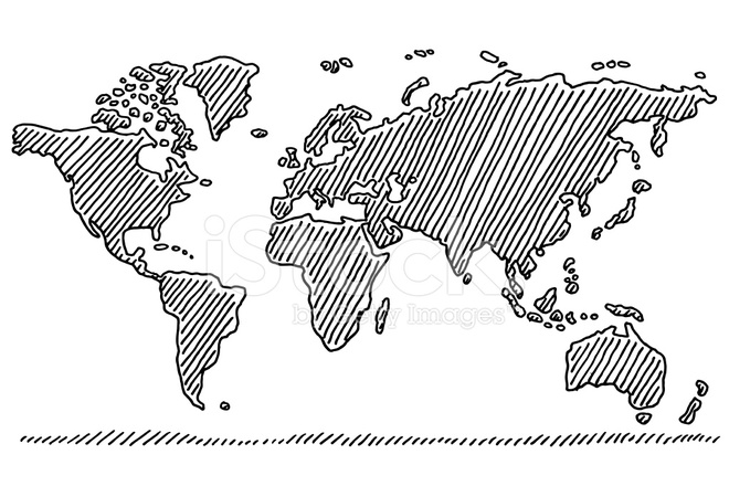 Hand Drawn World Map IN Black Stock Vector - FreeImages.com