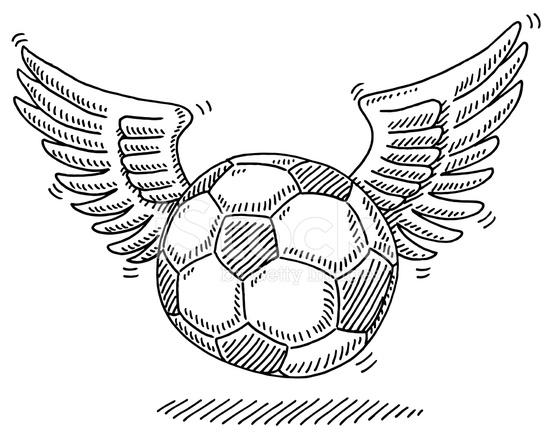 Fliegender Fussball Flugel Zeichnen Stock Vector Freeimages Com