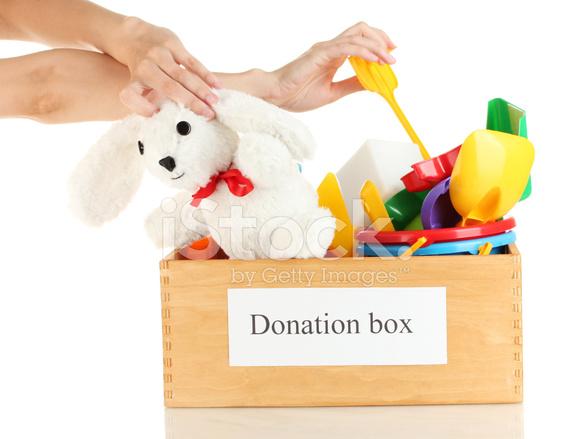 De Plano La Caja Niños Con En Juguetes Los Primer Donación D9H2IE