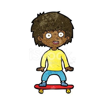 menino de desenhos animados em skate stock vector freeimages com