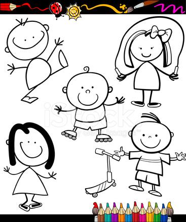 Mutlu çocuklar çizgi Film Boyama Kitabı Stock Vector Freeimagescom