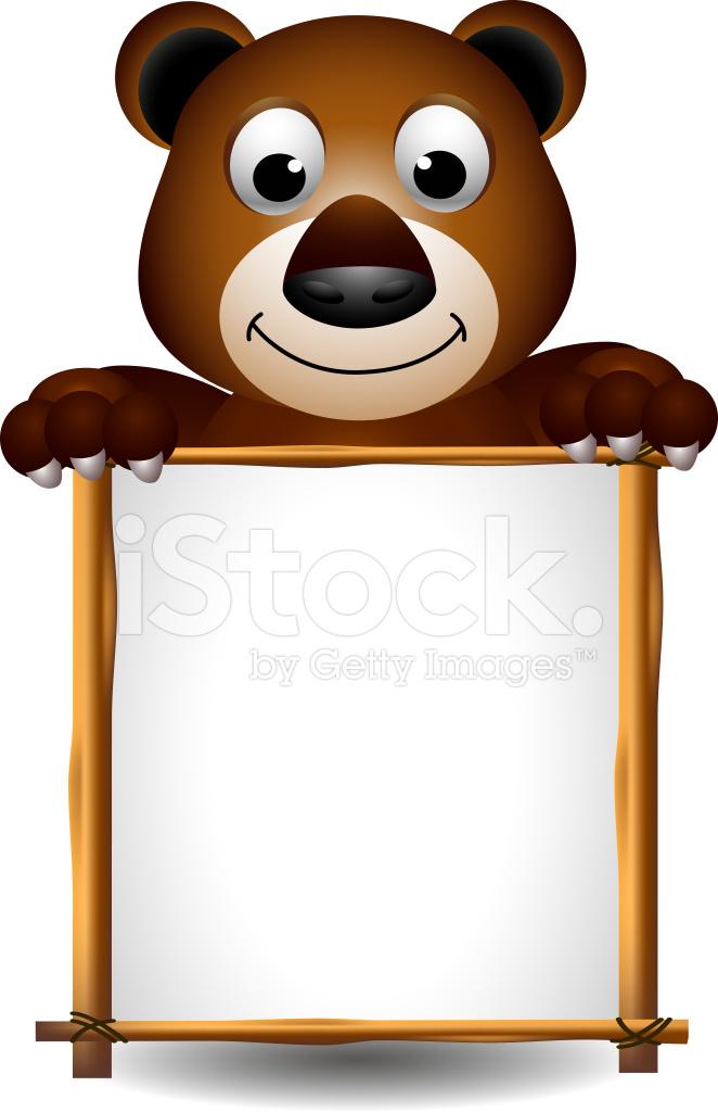 ours brun dessin anim u00e9 tenant une pancarte blanche photos cute bear clip art black and white cute bear clipart images in black and white