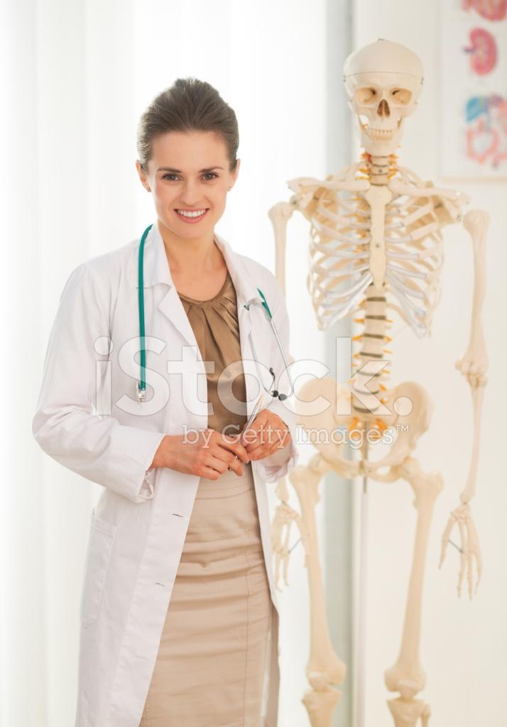 Arzt Frau IN Der Nähe Von Menschliche Anatomische Skelettmodell ...