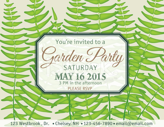 Ferns Garden Party Invitation Template Stock Vector - FreeImages.com