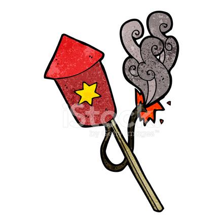 Fuegos Artificiales De Dibujos Animados Con Quema De Fusibles Stock