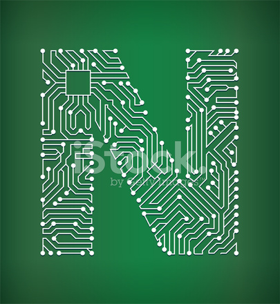 Letter N Circuit Board Royalty Free Vector Art Background Stock ...
