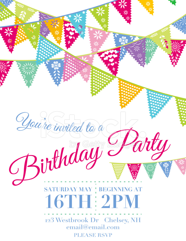 vector papel picado birthday invitation template stock vector