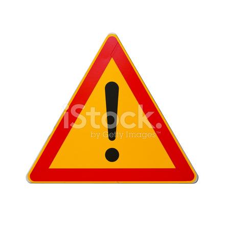 panneau de signalisation d 39 avertissement avec point d 39 exclamation isol sur blanc photos. Black Bedroom Furniture Sets. Home Design Ideas
