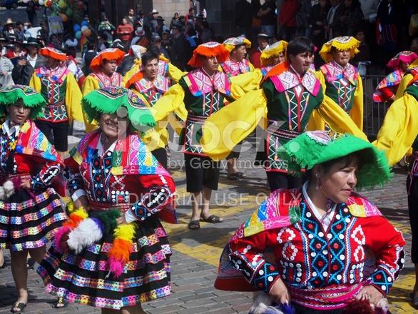 Colouful Dances IN Traditonal Costume, Cusco, Peru Stock Photos