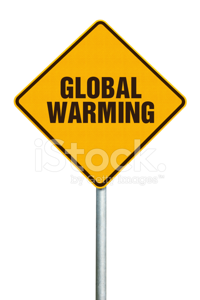 global warming orange diamond warning sign on white background stock photos. Black Bedroom Furniture Sets. Home Design Ideas