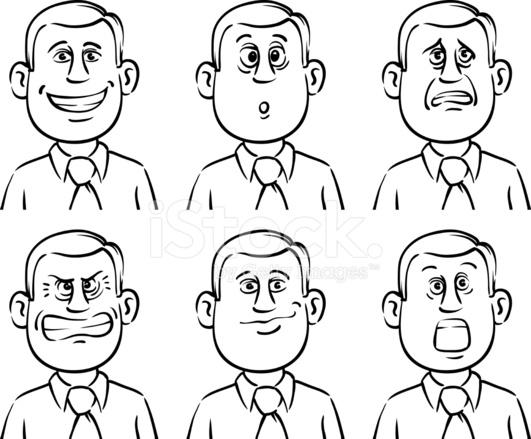 Extrêmement Tableau Blanc Dessin Homme D'affaires D'émotions DE Visages Stock  BO95