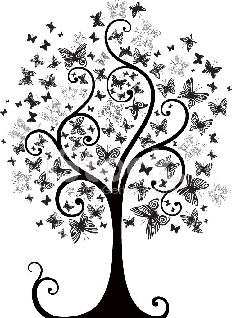Árbol Con Mariposas (blanco Y Negro) fotografías de stock ...