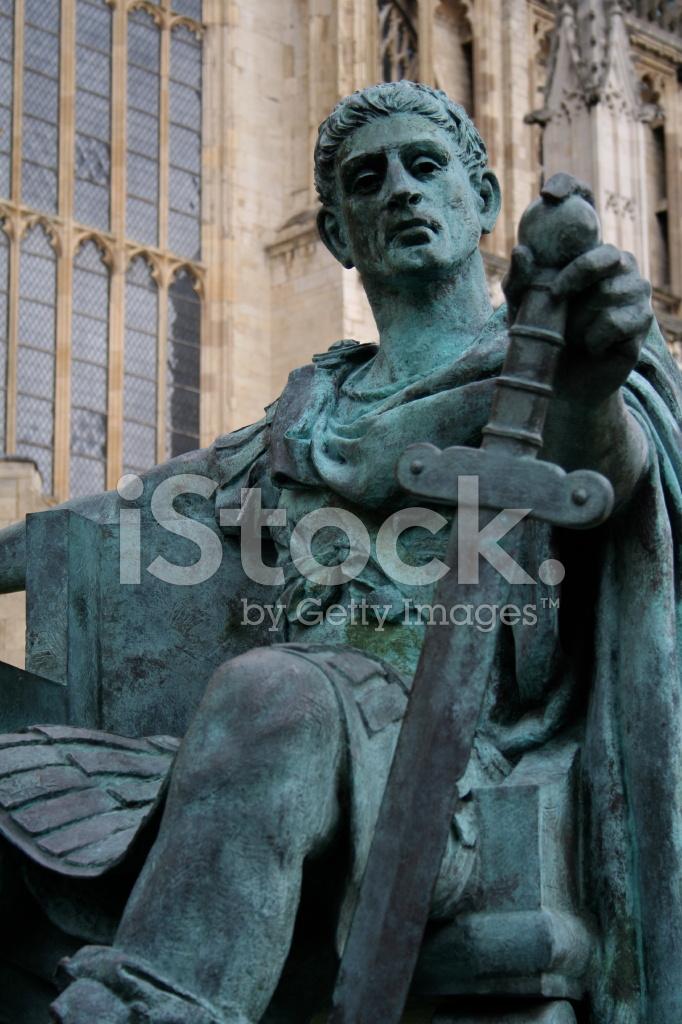 彫像のローマ皇帝コンスタンティヌス 1 世、ヨーク ストックフォト ...
