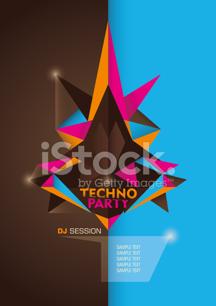 Techno party poster design with geometric shapes.