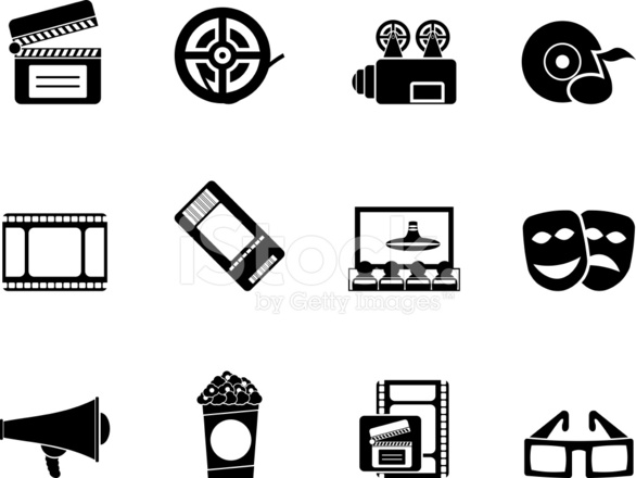 Silhouette movie theatre and cinema icons stock vector - Clipart cinema gratuit ...