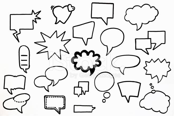 Types Of Hand Drawn Speech Bubbles Stock Photos