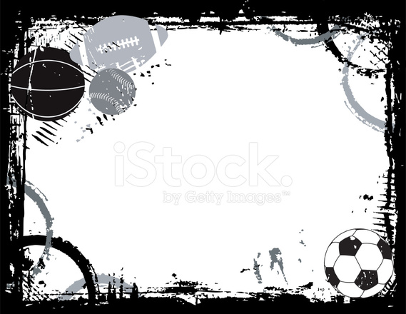 Color Sport Background Football Basketball Hockey Stock: Sports Ball Border Stock Vector