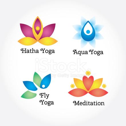 Yoga Zeichen Festgelegt Hatha Meditation Aqua Blumen Und Körper