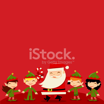 christmas santa elves copyspace background stock vector freeimages com