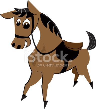 可爱的马儿童插图