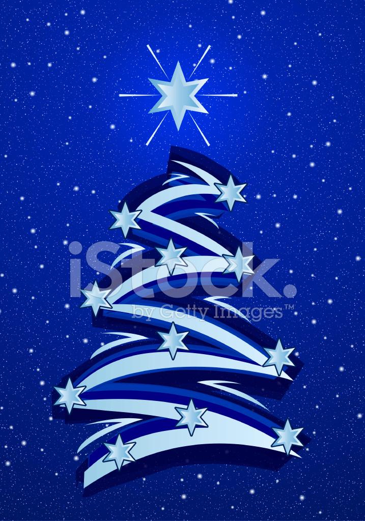 Albero Di Natale Stilizzato Disegno Blu Fotografie Stock