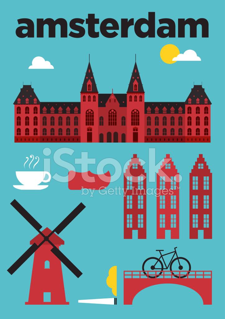 Infographic amsterdam city poster design stock photos for Design amsterdam
