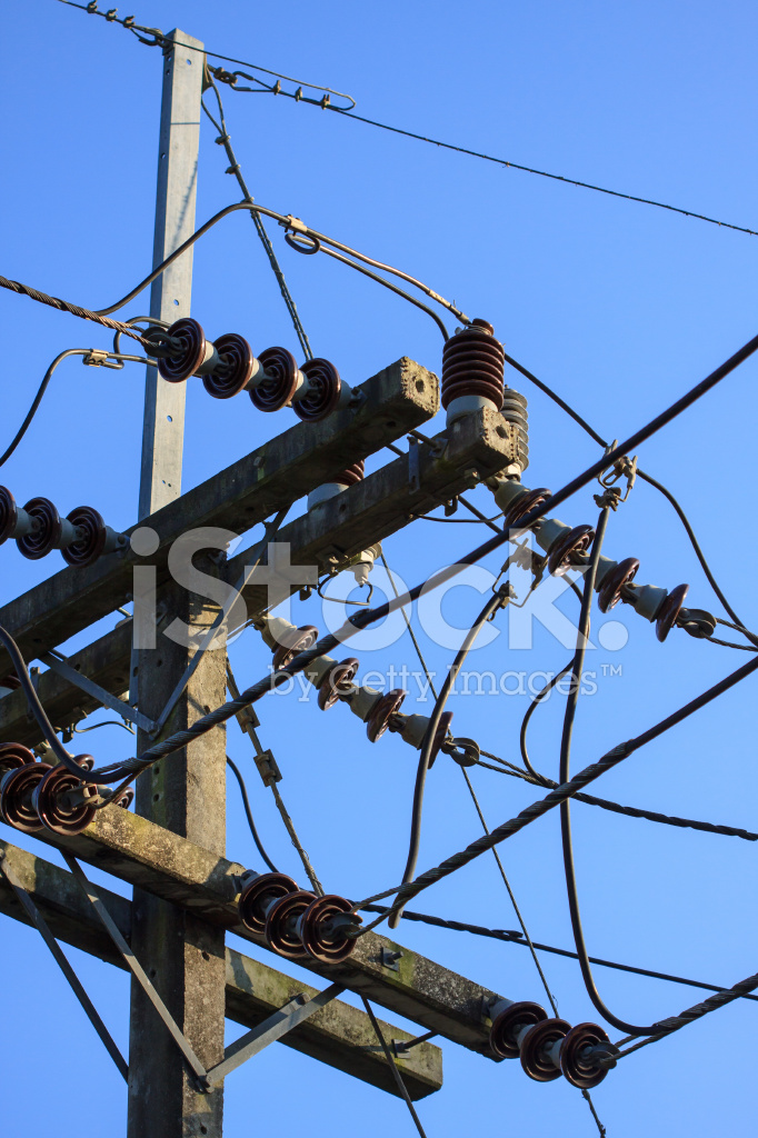High Voltage Poles,mono Pole Transmission Line Tower Stock Photos