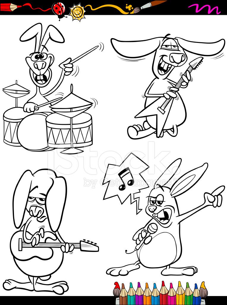 Músicos DE Conejos Set Libro Para Colorear DE Dibujos Animados Stock ...