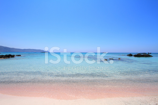 Pink Sand Beach With Crystal Waters Elafonisi Crete Stock
