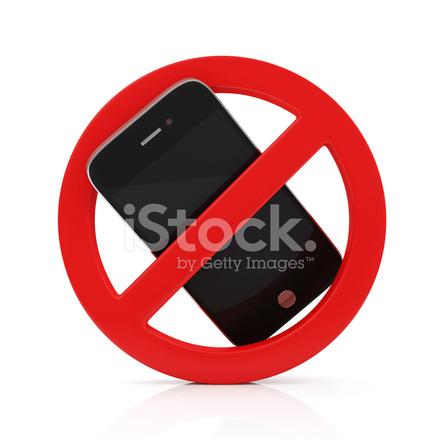 Nessun Segno Di Cellulare Isolato Su Sfondo Bianco Fotografie Stock