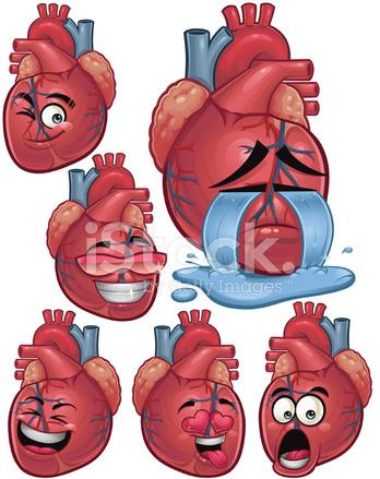 Conjunto De Dibujos Animados De Corazón Humano B Stock Vector