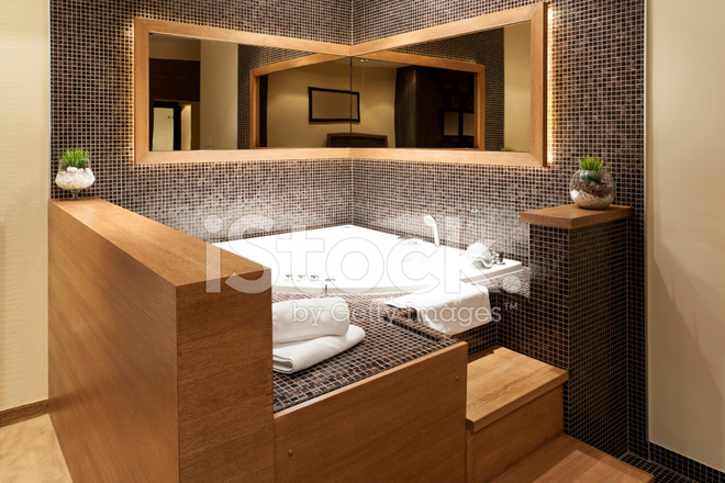 Modern open jacuzzi in a room stock photos freeimages