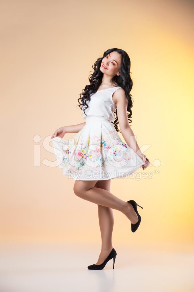 Romantic Beautiful Woman Wearing White Dress Stock Photos ...