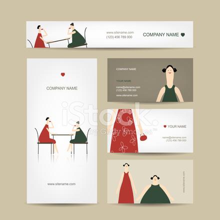 Satz Von Visitenkarten Design Trinken Freunde Tee Im Café