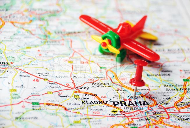 Aeropuerto DE Praga Repblica Checa Mapa fotografas de stock