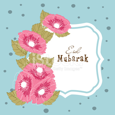 Eid mubarak greeting card design with pink stock vector freeimages eid mubarak greeting card design with pink flowers m4hsunfo