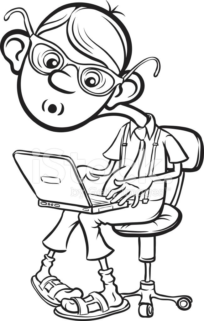 Beyaz Tahta çizim Laptop Ile Oturan Karikatür Inek çocuk Stock