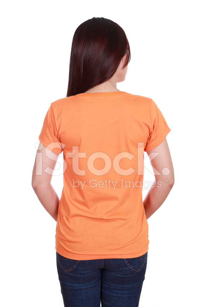 Sides Back Of A Tumble ~ Female with blank t shirt back side stock photos