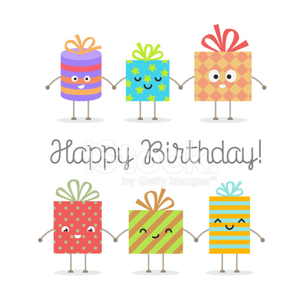 Feliz Cumpleaños Tarjetas Con Dibujos Animados Sonriendo Cajas De