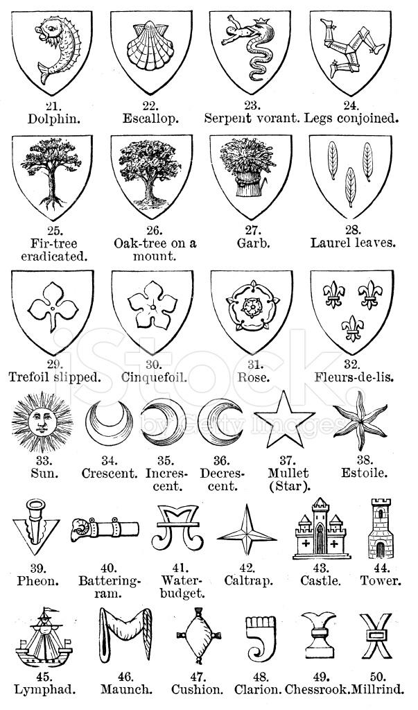 Antique Illustration of Heraldry Symbols Collection Stock