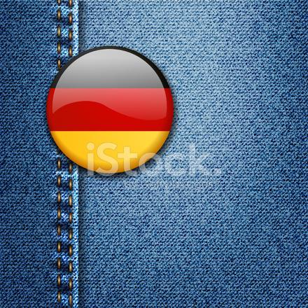 Deutschland Hell Farbigen Abzeichen Auf Denim Stoff Textur Vektor