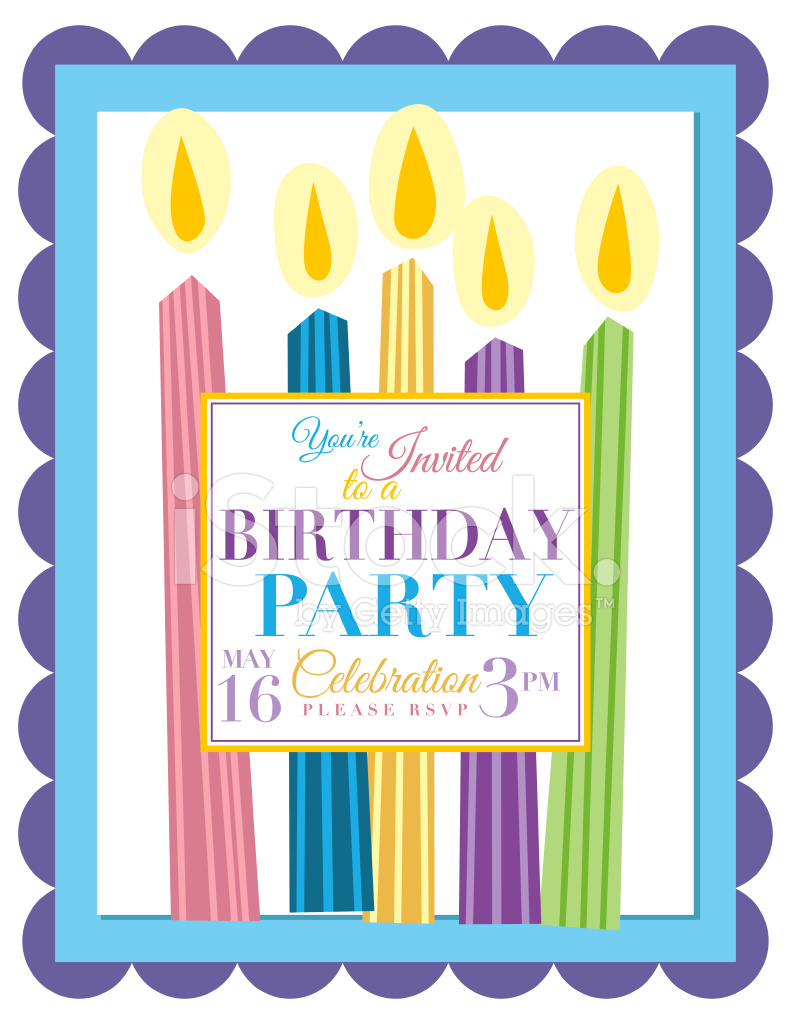 Candles Birthday Party Invitation Template