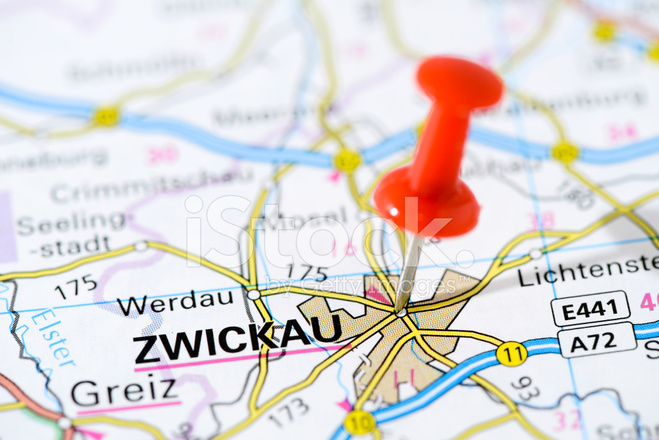 European Cities on Map Series Zwickau Stock Photos FreeImagescom
